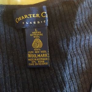Charter Club Sweaters - Navy wool ribbed v neck